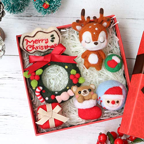 Hacloser Wool Felting Kit Tool Supplies, Lovely Sika Deer Christmas Elk Gift Box, DIY Handmade Craft Needle Felting Material Bag ()