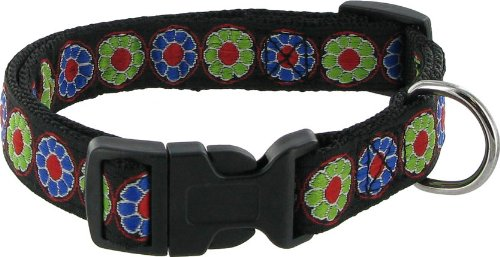 "Kakadu Pet Flower Power Dog Collar, 3/4"" x 18"", Black"