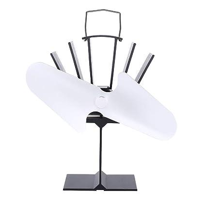 Sairis 2 Cuchillas Estufa eléctrica de Calor Ventilador ecológico Chimenea Ahorro de Combustible Estufa Ventilador (