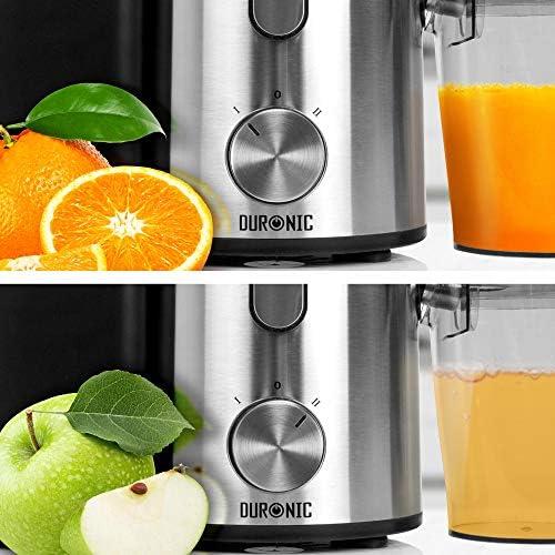 Duronic Juicer JE10 Whole Fruit and Vegetable Juicer Powerful 1000W Large Feeding Tube Centrifugal Power Juicer Machine