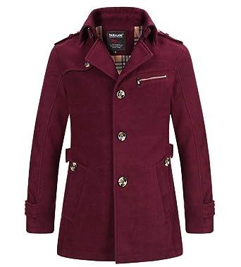 Manteau Homme Laine Hiver Chaud Trench-Coat Caban élégant Blouson Parka  Veste Court Slim Fit Casual Coat, Vin Rouge - Asie 4XL  Amazon.fr  Vêtements  et ... ba9bdd11351e