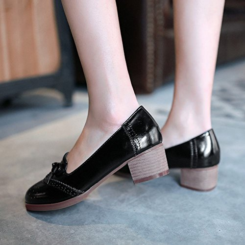 Carolbar Women's Western Concise Bow Block Mid Heel Loafer Court Shoes Black Lb6Mu5