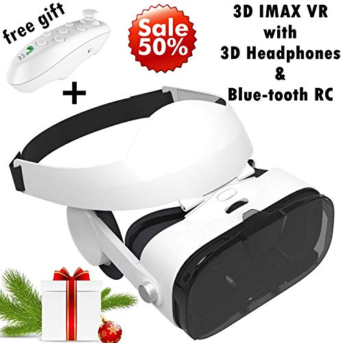 3D VR Headset Virtual Reality Goggles w/Over Ears HiFi Headphones for iPhone 11 Pro XS Max XR X 8 7 6S Plus, Samsung…