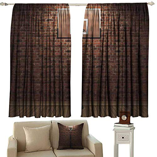 Rod Pocket Window Curtain Panel,Sports Decor Old Brick Wall and Basketball Hoop Rim Indoor Training Exercising Stadium Picture Print,Room Darkening, Noise Reducing,W55x72L Inches Brown