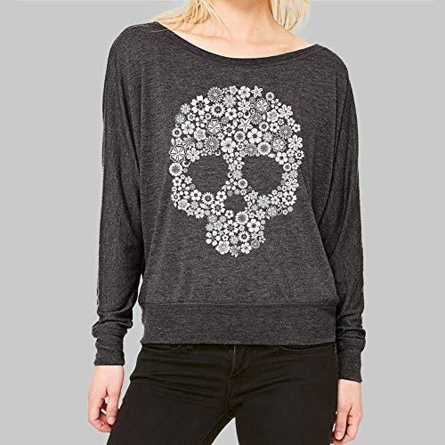 Womens Long Sleeve Scoop Neck Shirt Skull Flower Graphic Bella Flowy Dolman Top 2 ()