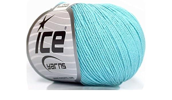 Lote de 8 madejas de hilo de tejer a mano para bebé, verano, 60% algodón, color turquesa claro: Amazon.es: Juguetes y juegos