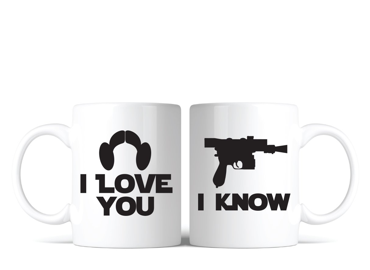 Star Wars Inspired I Love You I Know Coffee Mug Set of 2 Great Gift for Fans Lovers Bondi Boutique
