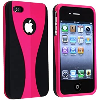 Snap-on Rubber Coated Case for Apple® iPhone® 4 4S 4GS 4G AT&T / Verizon, Pink / Black