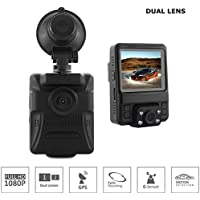 Front/Rear Facing Dash Cam by JHA   Wide Angle Lens, Built-in GPS   Drive Your Car With Confidence and Feel Safe and Secure   2.4 Inch LCD Screen, Up to 32 GB Memory, 150 Degree Wide Angle Camera