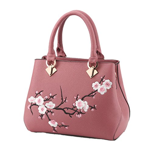 Womens Printed Shoulder Pink Dark Bag Flower Cross Handbag Sentao Body Bag Pqpnwd