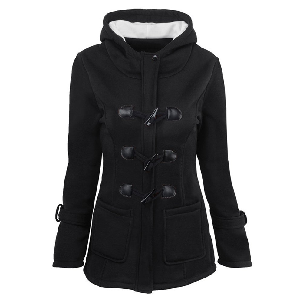 Ponyka Women's Autumn Winter Classic Outdoor Wool Blended Hooded Pea Jacket WHJAM2001