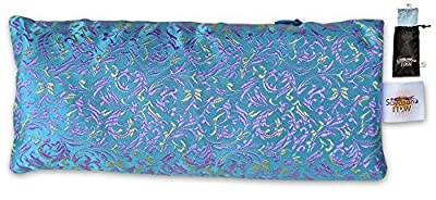 EYE PILLOW LAVENDER + Flax Seed Filled + Carry Bag. Silk Fabric & FREE meditation audio - Use for Yoga, Natural Sleep Aid, Stress Relief, Anxiety Relief, Meditation, Massage ** Great Relaxation Gift by Savasana Now