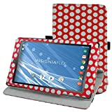 "Insignia NS-P08A7100 Rotating Case,Mama Mouth 360 Degree Rotary Stand With Cute Lovely Pattern Cover For 8"" Insignia Flex NS-P08A7100 Andriod 6.0 Tablet 2016,PolkaDot Red"