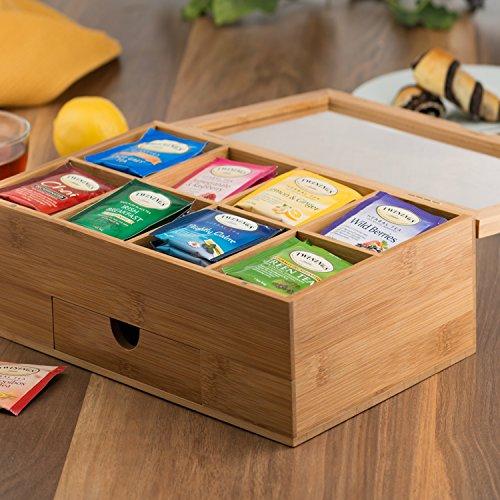 Tea Organizer Bamboo Tea Box with Small Drawer 100% Natural Bamboo Tea Chest - Great Gift Idea - By Bambusi by Bambüsi (Image #3)