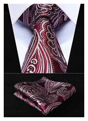 HISDERN Extra Long Floral Paislry Tie Handkerchief Men's Necktie & Pocket Square Set (Burgundy & Gray) (Extra Long Ties)