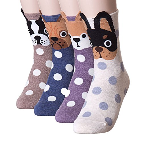 Pack of 4 Womens Cute Animal design Crew Socks (Dogs4Pairs)vBy DearMy