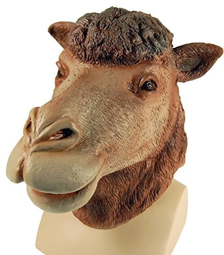 Adult Ladies Mens Brown Camel Rubber Full Face Mask Desert Animal Halloween Fancy Dress Costume Outfit Accessory -