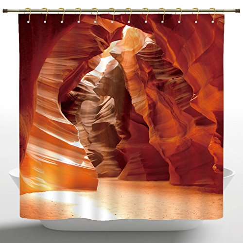 Funky Shower Curtain by iPrint,Americana Decor,Grand Canyon Cave in Colorado Picture Print,Beige Brown Red Orange,Polyester Bathroom Accessories Home Decoration