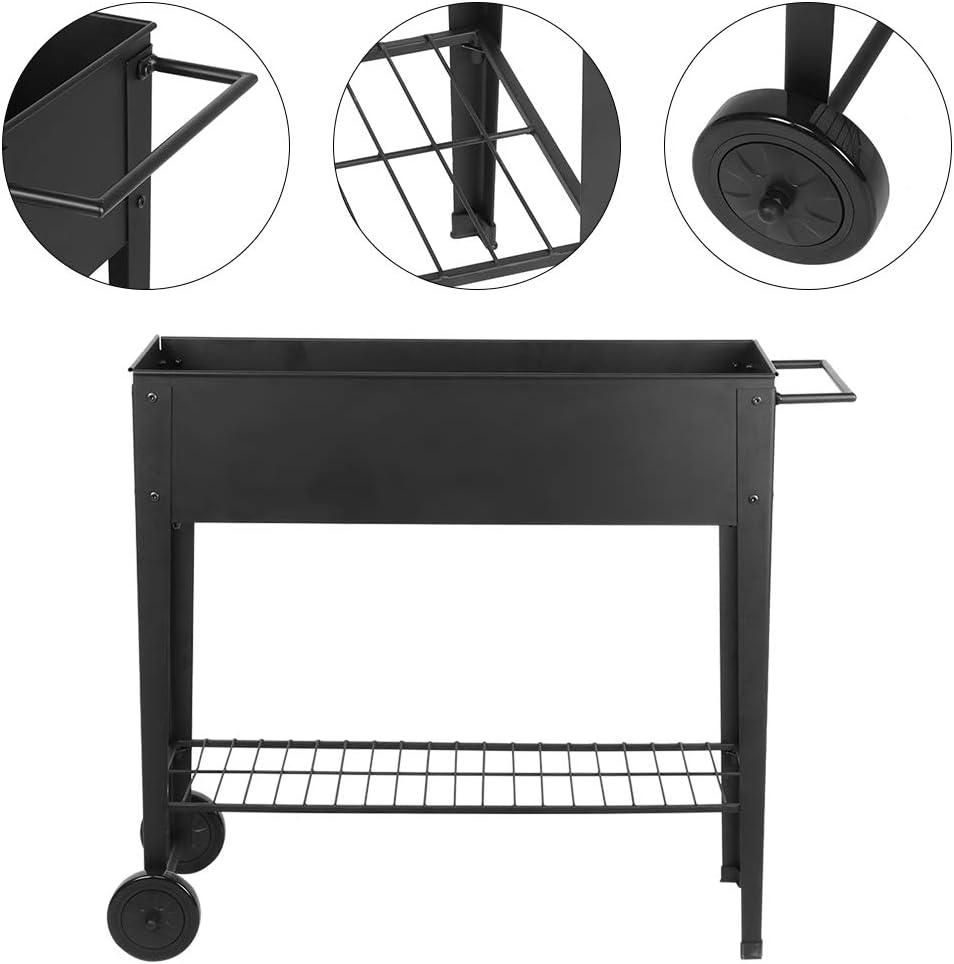Ablaufloch schwarz Gitter integrierte Rollen 84 x 31 x 80 cm Hochbeet Urbano Hochbeet mit Metall-Staubbeinen