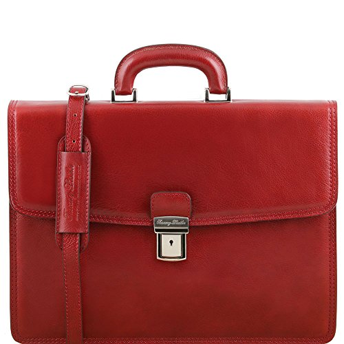 Tuscany Leather - Amalfi - Cartable en cuir avec 1 compartiment - Rouge - Homme