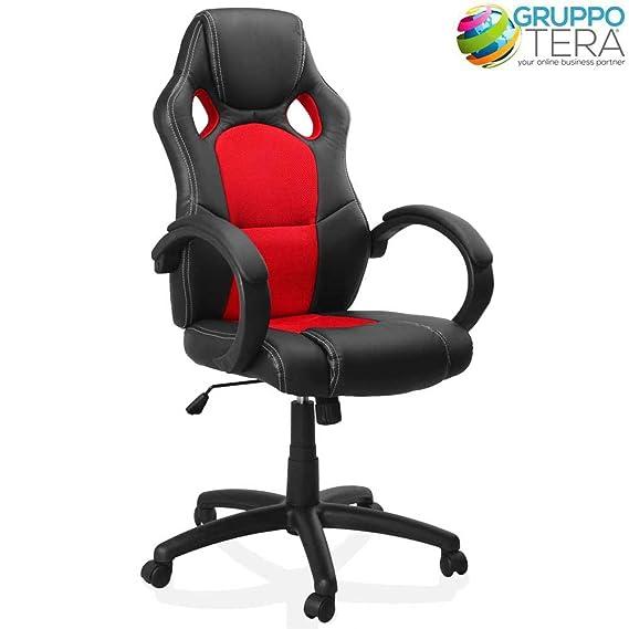 BAKAJI Silla Deportiva sillón direccional de Oficina 4 Ruedas Giratorio 360 ° Modelo Racer Gaming Diseño Extra Lusso de sintética Negro y Tela Rojo: ...