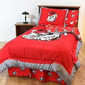 georgia bulldogs 8 pc full size bed in a bag comforter set and one matching. Black Bedroom Furniture Sets. Home Design Ideas