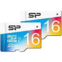 Silicon Power SP016GBSTHBU1V20AU 2PK 16GB Elite microSDHC UHS-1 Memory Card, with Adapter