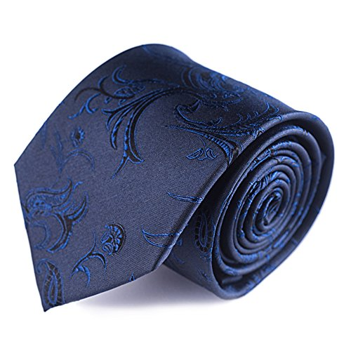 Qobod thanksgiving gifts for men Silk Necktie Handmade Tie Men's Gift Boxes navy paisley flower floral jacquard