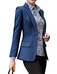 SHOWNO-Women Blazer Casual Cotton Linen Plus Size Work Mini Blazer Jacket Coat