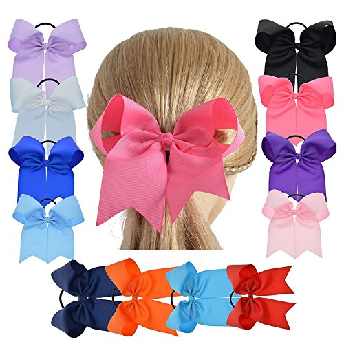 LCLHB 6 Inch Big Cheer Bows Grosgrain Ribbon Ponytail Holder With Elastic Hair Tie For Girls (Window Box Pack Of 12)