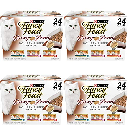 Purina Fancy Feast Gravy Lovers Poultry & Beef Feast Collection Wet Cat Food Variety Pack - (24) 3 Oz. Cans - 4 Pack