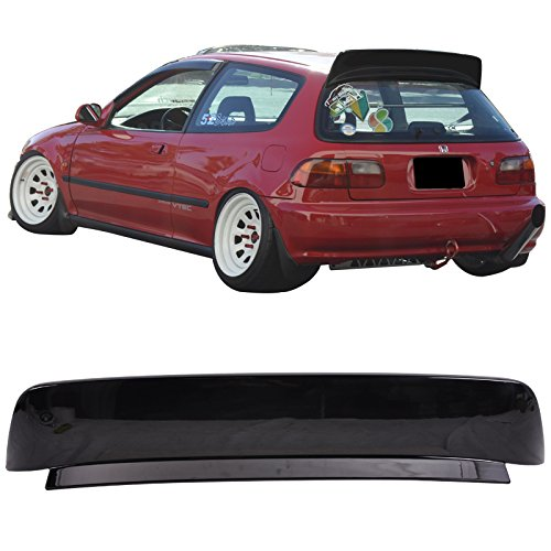 Roof Spoiler Fits 1992-1995 Honda Civic 3 Door Hatchback BYS Style Unpainted Black Rear Boot Deck Lid Roof Wing Replacement by IKONMOTORSPORTS | 1993 1994