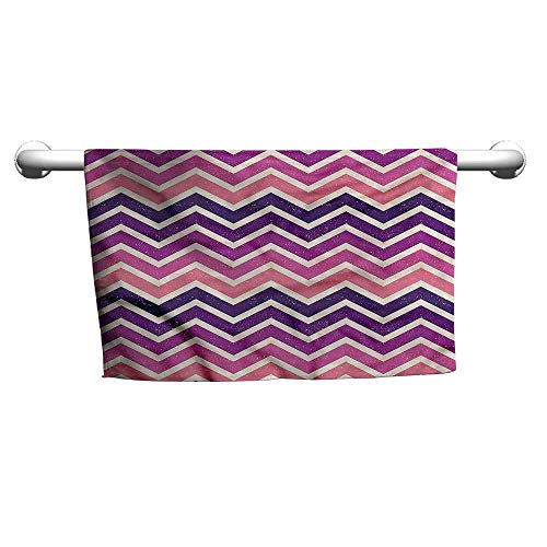 (flybeek Pattern Hand Towels Purple and Pink,Zig Zag Stripes,t Shirt Towel for Curly Hair)