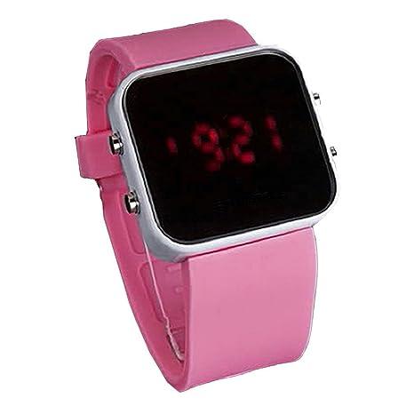 Gleader Reloj LED Digital Superficie de Espejo Banda de Silicona Rosa para Mujer Hombre
