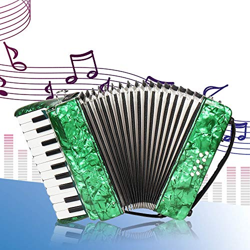 Nannday Piano Accordion, 22-Key 8 Bass Piano Accordion Musical Instrument for Beginners Students(Green)