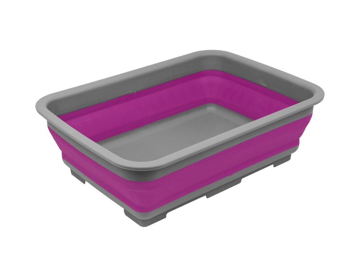 Invero® Collapsible Washing Up Bowl - Portable 10 Litre Water Storage Basin Ideal for Camping, Caravans, Outdoor Activities, Kitchen and more - Purple