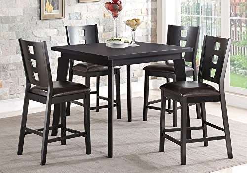 1PerfectChoice 5 pcs Counter Height Dining Set Square Table Dark Brown PU Chair Wood in Black