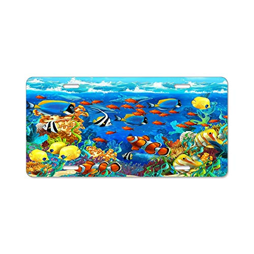 (License Plate Covers Tropical Fish Underwater Coral Reef License Plate US Car Front License Plate - Novelty Metal Auto Car Tag 4 Holes (12 X 6 inches))