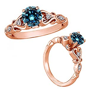 0.75 Carat Blue Round Diamond Solitaire Engagement Wedding Bridal Women Ring 14K Rose Gold
