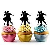 TA0353 Senior Prom Couple Ballroom Dance Silhouette Party Wedding Birthday Acrylic Cupcake Toppers Decor 10 pcs