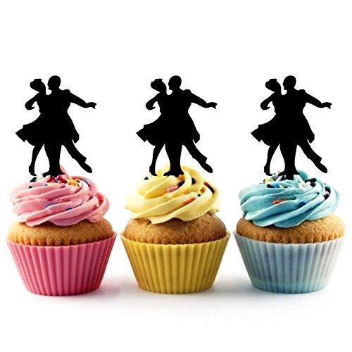 (TA0353 Senior Prom Couple Ballroom Dance Silhouette Party Wedding Birthday Acrylic Cupcake Toppers Decor 10 pcs)