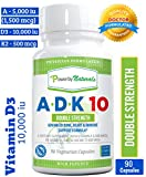 Vitamin ADK 10 - Double Strength ADK 10000 iu ~ High Potency [Vitamin A 1,500 mcg + D3 10,000 iu + K2 (as MK-7) 500 mcg] Supplement for Bone, Heart, Immune Support, Non-GMO ~ 90 Pills - 3 Months