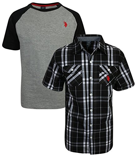 U.S. Polo Assn. Boy's Short Sleeve Button Down Shirt 2 Piece Set