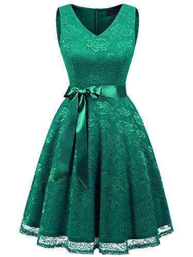 IVNIS RS90025 Women's Cocktail Dress V Neck Vintage Floral Lace Swing Bridesmaid Dress Green 2XL