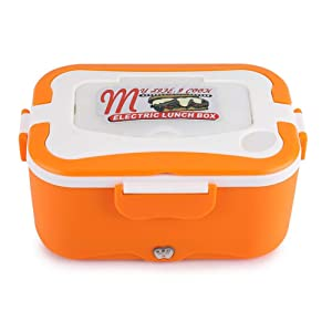 Portable Car House Electric Heating Lunch Mini Box Bento Food Warmer Container Thermostatic Traveling Catering Buffet(12V-Orange)