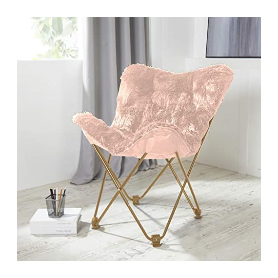 Urban Shop Mongolian Butterfly Chair, Blush - Ideal for dorms, apartments, game rooms and more! Folds easily for storage when not in use - no assembly required Sturdy metal frame with Polyester faux fur fabrication - living-room-furniture, living-room, accent-chairs - 51jNYQuh6XL. SS570  -