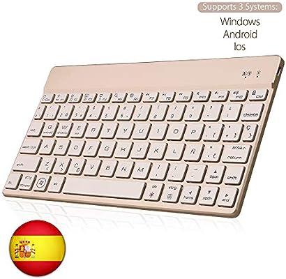 SENGBIRCH Bluetooth Teclado Español, Teclado Inalámbrico Delgado para iOS-Android-Windows Retroiluminada 7 Colores Teclado Compatible con iPad, Tablet PC,Mac (Oro): Amazon.es: Electrónica