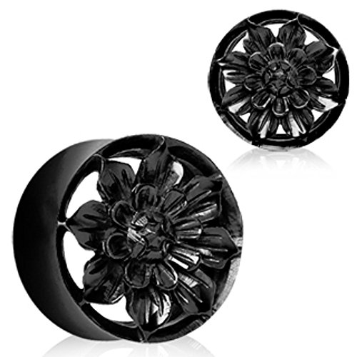 Organic Black Buffalo Horn Flesh Tunnel Plug with Carved Dahlia Flower Gauge Organic Horn Plug