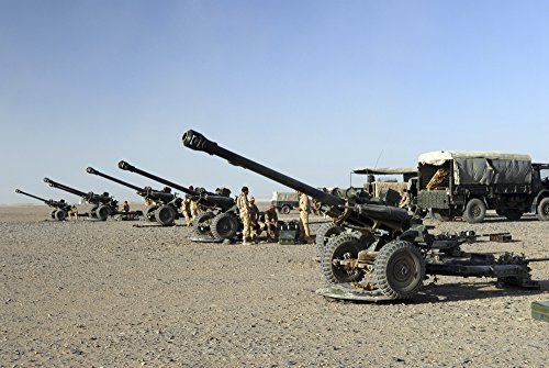 Posterazzi PSTACH100200M Howitzer 105mm Light Guns are Lined up at Camp Bastion Afghanistan Poster Print, 17 x 11