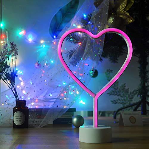 Decorative LED Unicorn Neon Lights Heart Neon Light Unicorn Neon Sign Led Neon Moon Neon Light (Pink)